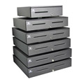 Series 4000 Cash Drawer (Painted Front with Dual Media Slots, 554 Interface, 18 Inch x 21 Inch and Coin Roll Storage Keyed A7) - Color: Black